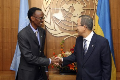 UN Secretary-General Ban Ki-moon (right) meets President Paul Kagame: Rwanda recently submitted a rebuttal to the UN Sanctions Committee on allegations that it is backing the M23 rebels in Congo-Kinshasa (file photo).