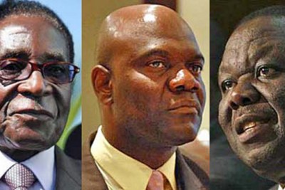 Party leaders: Robert Mugabe, Arthur Mutambara, and Morgan Tsvangirai ...