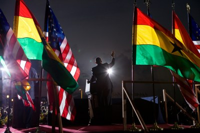 President Barack Obama speaks to the crowd during his visit to Ghana in July 11, 2009.