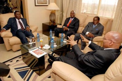 President Zuma meeting with President Robert Mugabe, Prime Minister Morgan Tsvangirai and Deputy Prime Minister Arthur Mutambara at the Rainbow Towers Hotel in Harare (file photo).
