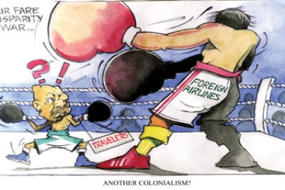 Cartoon depicting air transport disparities in Nigeria.