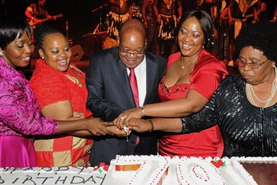 President Jacob Zuma and his wives from left is Bongi Ngema, Nompumelelo Ntuli, Thobeka Madiba and Sizakele Khumalo Zuma.