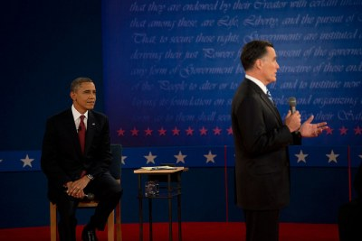 U.S. presidential candidates Barack Obama and Mitt Romney at their second presidential debate in Ohio.