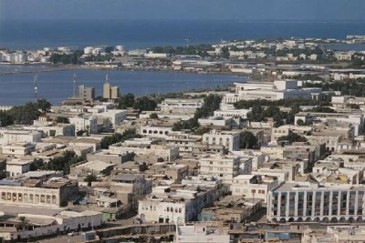 Aerial view of Djibouti City, the capital of Djibouti.