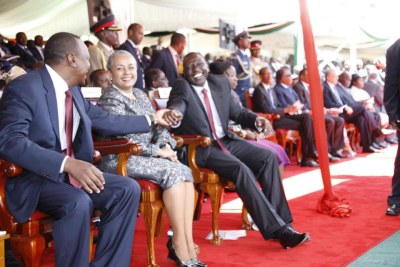 President Uhuru Kenyatta with his co-accused, Deputy President William Ruto.