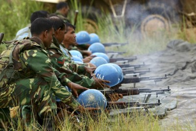 Peacekeepers are pictured during a training exercise at the shooting range (file photo).