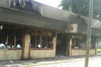 Mpeketoni Equity bank branch after it was torched by suspected Al Shabaab terrorists.