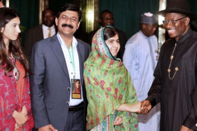Malala and President Goodluck Jonathan.