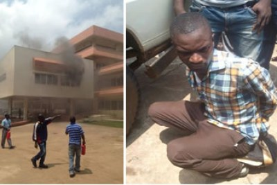 Man arrested for setting the health ministry ablaze.
