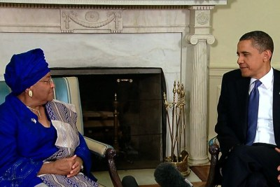 President Obama Meets with Liberian President Johnson Sirleaf in the Oval Office in May 2010.