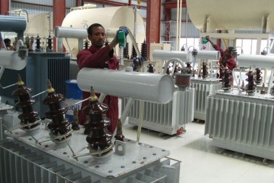 Tatek transformer factory near Addis Ababa, one of seven factories run by Ethiopian Power Engineering Industry, a state firm that manufactures power grid supplies and trains staff to maintain the grid.
