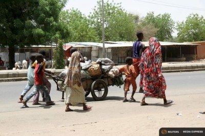 People flee from Boko Haram attacks in Maiduguri in Borno State (file photo).
