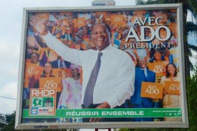 One of the many billboards in support of President Alassane Ouattara in Abidjan, Côte d'Ivoire.