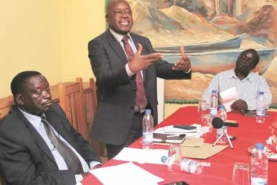 War Veterans leaders Christopher Mutsvangwa, Victor Matemadanda and Douglas Mahiya (file photo).