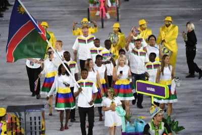 Namibia's Olympic flagbearer Jonas Junias Jonas leads the pack at the ope­ning ceremony of the Rio 2016 Olympic Games at the Maracana.