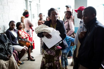 Patients wait to be treated at Mgabathi Hospital in Nairobi, Kenya on June 15, 2016. Mgabathi Hospital is one of the 98 hospitals in Kenya that will benefit from the program being led by the Ministry of Health to modernize core healthcare services at key government facilities across the country.
