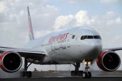 Kenya Airways' Boeing 777-300ER aircraft at JKIA, Nairobi.