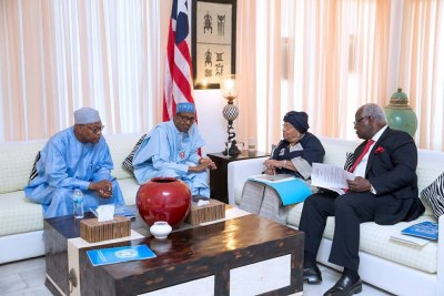 Buhari, Mahama, Sirleaf meet to discuss the crisis in The Gambia.