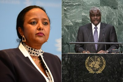 Kenya's Foreign Affairs Cabinet Secretary Amina Mohamed (left)  and Chad's Moussa Faki Mahamat.