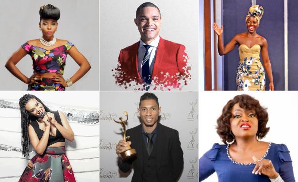 Yemi Alade, Trevor Noah, Lupita Nyong'o, Pearl Thusi and Wayde van Niekerk and Funke Akindele Bello.
