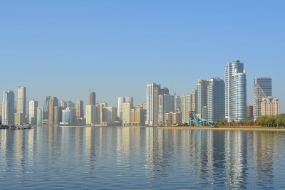 Sharjah city skyline in United Arab Emirates.