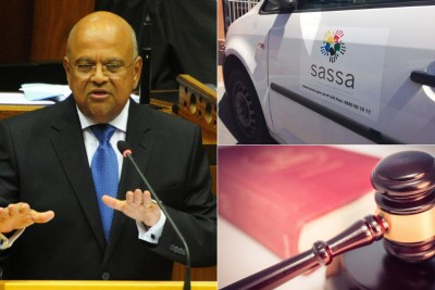 Left: South African Finance Minister Pravin Gordhan. Top-right: Sassa vehicle. Bottom-right: Judge's gavel.