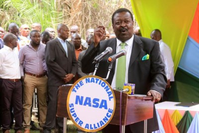 Nasa co-principal and ANC leader Musalia Mudavadi addressing the media in Nairobi on February 22, 2017 (file photo).