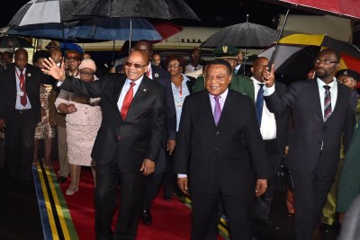 President Jacob Zuma received by Tanzanian Minister of Foreign Affairs and East Africa Cooperation, Mr Augustine Phillip Mahiga on arrival at Julius Nyerere International Airport. President Zuma is on a State Visit to the United republic of Tanzania to strenghten bilateral and economic relations between the two countries.