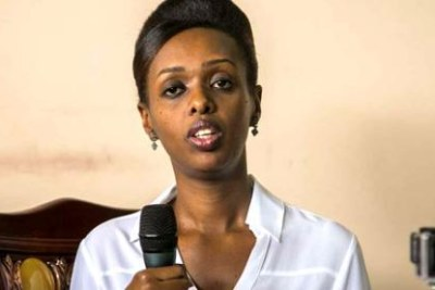 Diane Shima Rwigara addresses a press conference, announcing her candidature for the Rwanda presidency.