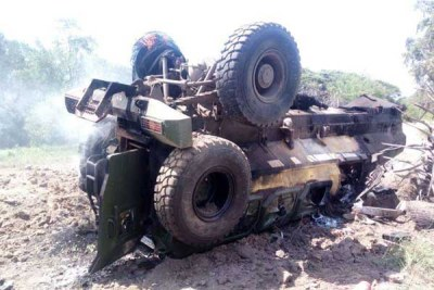 An armoured personnel carrier that ran over an explosive planted by suspected Al-Shabaab militants in Lamu County (file photo).