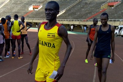 Uganda's David Emong during the national trials at Namboole.