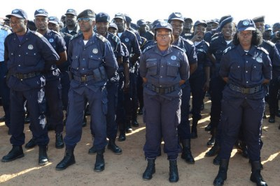 Police officers ready to secure electoral process.