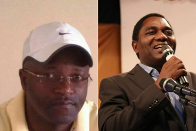 Chipolopolo team doctor George Magwende and opposition politician Hakainde Hichilema (file photo).