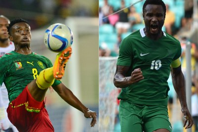 Indomitable Lions' Benjamin Moukandjo and Super Eagles' Michael Obi (file photo).