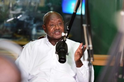 President Yoweri Museveni appearing on a radio talk-show