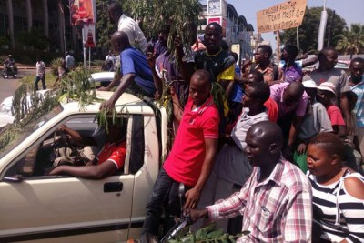 Nasa supporters march in the streets of Kisumu.