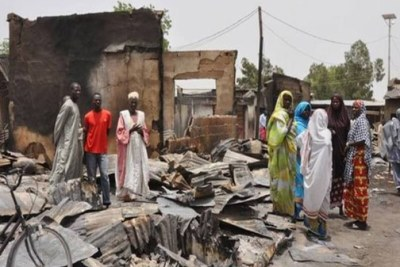 One of the towns in the North-East torched by Boko Haram terrorists