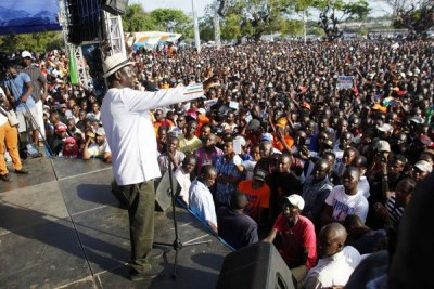 Nasa leader Raila Odinga addresses a rally at Mama Ngina Drive in Mombasa on October 15, 2017.