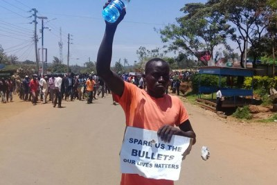 Anti-IEBC protests in Migori County on October 16, 2017.
