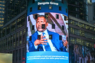 A photo of business tycoon Aliko Dangote was displayed in Times Square, New York after he appeared on the Bloomberg 50 list of the most influential people in 2017.