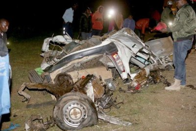 The wreckage of the car that collided with a truck on Saturday at Kamara on the Nakuru-Eldoret highway.