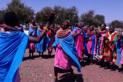 Samburu dancers entertain guests during Jamhuri celebrations at Isiolo stadium.