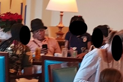 A picture taken of Minister of Police Fikile Mbalula at the Imperial Club lounge in the five-star Atlantis, The Palm hotel in Dubai.