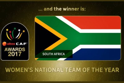 Banyana Banyana declared winners of the 2017 CAF National Women's Team of the Year award.