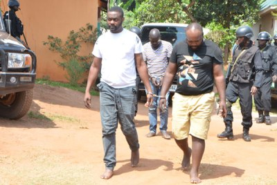 Some of the suspects who led security operatives to Kabowa, where slain Case Clinic Accountant, Francis Ekalungar's car was recovered.