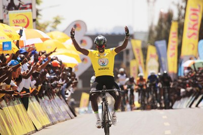 Tour du Rwanda 2017 winner Joseph Areruya celebrates the victory as he crossed the finish line in Kigali