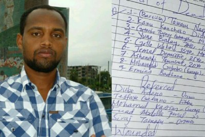 "A picture of Temam as was sent by Aliyi to Addis Standard. Right: List of victims released by the hospital. Temam's name is mentioned under No. 1 (Barsiisa ""Teacher"" Tamam Negesso). There is also a spelling difference as Temam's name is spelled in Qubee, the Afaan Oromo Alphabet."