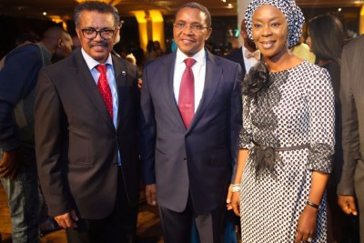 Dr Tedros Adhanom Ghebreyesus, WHO Director-General (left) with former Tanzania President Jakaya Kikwete and Mrs Toyin Ojora Saraki, president of the Wellbeing Foundation Africa