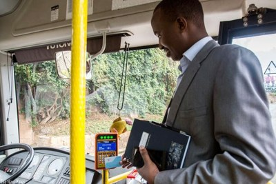 The Tap&Go innovation has revolutionised public transport in Rwanda (file photo).