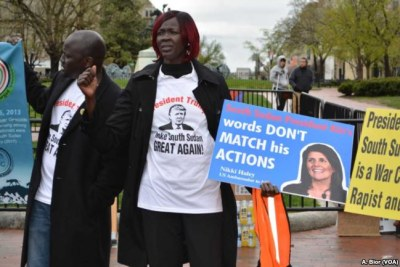 Protesters gathered in Washington D.C. to protest the ongoing war in South Sudan, April 16, 2018.